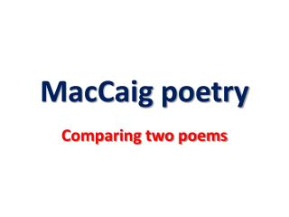 MacCaig  poetry