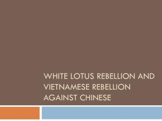 White lotus Rebellion and Vietnamese rebellion against Chinese