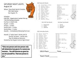 SATURDAY NIGHT LIGHTS August 24