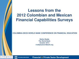The 2012 Financial Capabilities Surveys