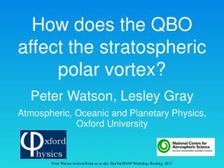 How does the QBO affect the  stratospheric polar  vortex ?