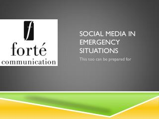 Social Media in emergency situations