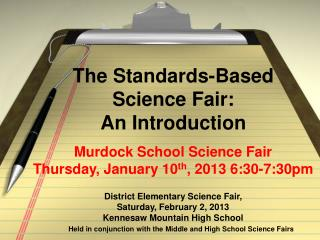 The  Standards-Based  Science  Fair: An Introduction