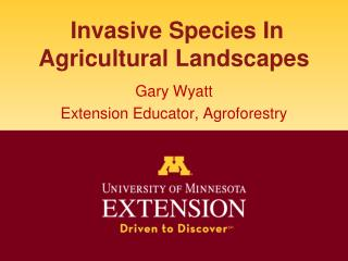 Invasive Species In  Agricultural Landscapes
