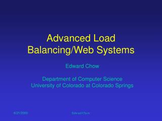 Advanced Load Balancing/Web Systems