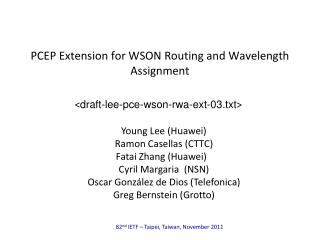 PCEP Extension for WSON Routing and Wavelength Assignment