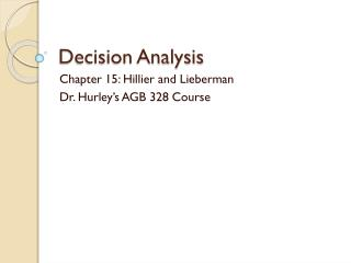 Decision Analysis