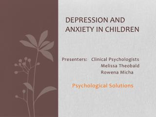 Depression and anxiety in children