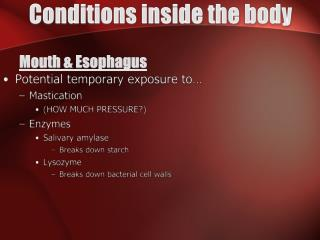 Conditions inside the body