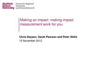 Making an impact: making impact measurement work for you