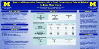 Anorectal Manometry  Parameters in a Fecal Incontinence Cohort Related  to Body Mass Index