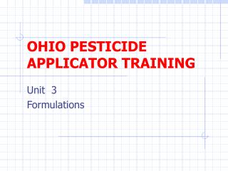OHIO PESTICIDE APPLICATOR TRAINING