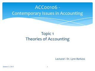 ACC00106 - Contemporary Issues in Accounting