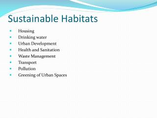 Sustainable Habitats