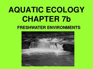 AQUATIC ECOLOGY  CHAPTER 7b