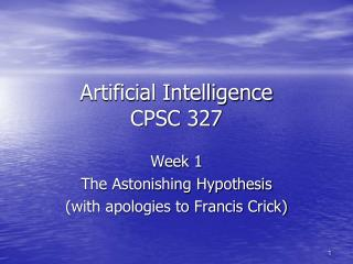 Artificial Intelligence CPSC 327
