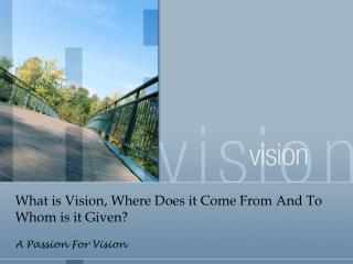 What is Vision, Where Does it Come From And To Whom is it Given?