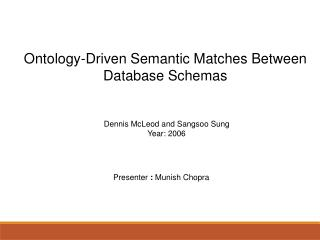 Ontology-Driven Semantic Matches Between Database Schemas