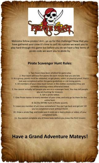Sports Plus Pirate Treasure Hunt