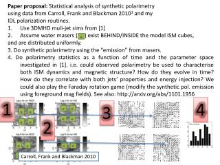 Paper proposal:  Statistical analysis of synthetic  polarimetry