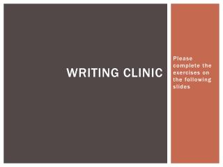Writing Clinic