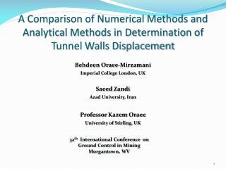 Behdeen Oraee-Mirzamani Imperial College London, UK Saeed Zandi Azad University, Iran