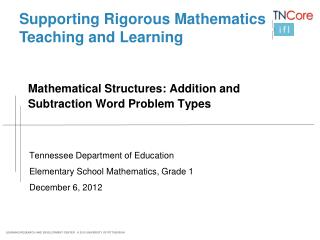 Mathematical Structures: Addition and Subtraction Word Problem Types