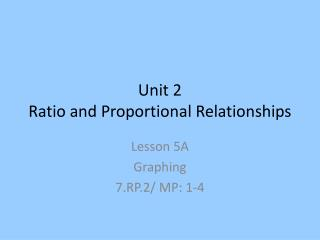 Unit 2 Ratio and Proportional Relationships