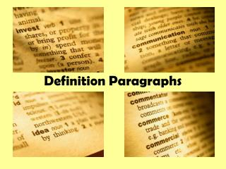 Definition Paragraphs