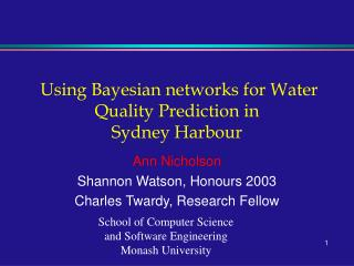 Using Bayesian networks for Water Quality Prediction in Sydney Harbour