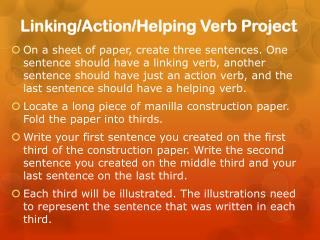 Linking/Action/Helping Verb Project