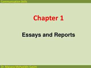 Chapter  1 Essays and  Reports