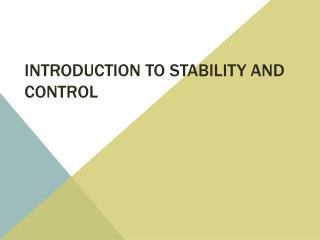 Introduction to Stability and Control