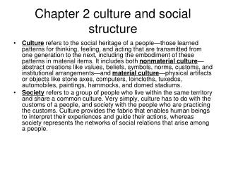 Chapter 2 culture and social structure