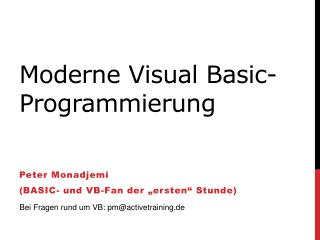 Moderne Visual Basic-Programmierung