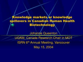Knowledge markets or knowledge spillovers in Canadian Human ...