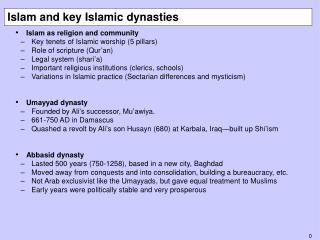 Islam and key Islamic dynasties