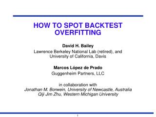 HOW TO SPOT BACKTEST OVERFITTING