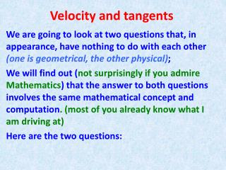 Velocity and tangents