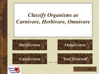 Classify Organisms as Carnivore, Herbivore, Omnivore