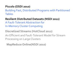 Resilient Distributed Datasets (NSDI 2012)