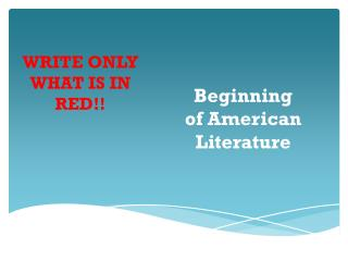Beginning of American Literature