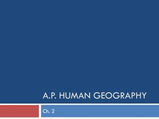 A.P. Human Geography