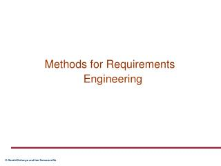 Methods for Requirements Engineering