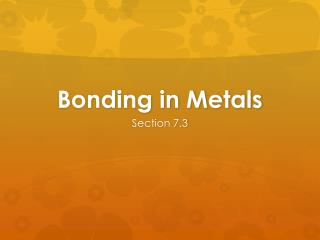 Bonding in Metals