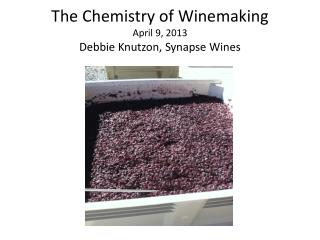 The Chemistry of Winemaking April 9, 2013 Debbie Knutzon, Synapse Wines