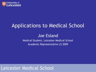 Applications to Medical School