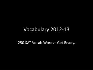 Vocabulary 2012-13