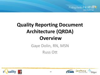 Quality Reporting Document Architecture (QRDA)   Overview