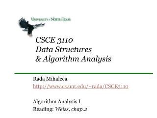 CSCE 3110 Data Structures  & Algorithm Analysis